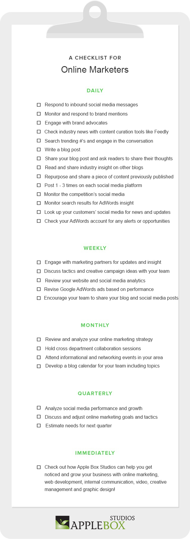 An Online Marketers Checklist